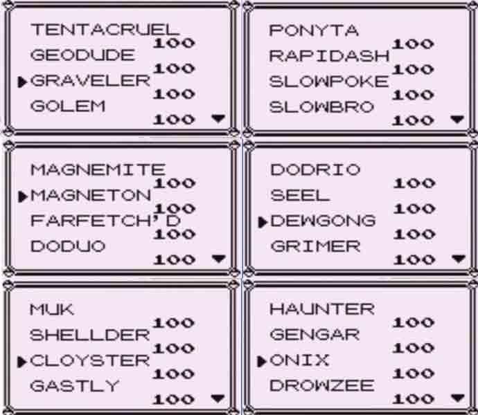 Pokémon Blue moduli, täysi Pokédex