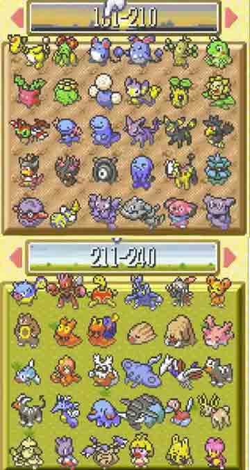 Pokémon Sapphire moduli, täysi Pokédex